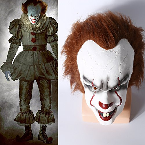 Yacn Gruselige Zombie halloween maske herren,Stephen King's mask für Erwachsene ,scream halloween clown maske weiß,Stephen King's mask |Pennywise halloween scary mask latex Männe mask scary costume cosplay (Penny wise)