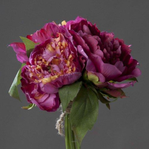 Artificielles - Bouquet de 3 pivoines Fuchsia epanouies Corde et Feuillage h 26 cm - Choisissez Votre Couleur: Fuchsia