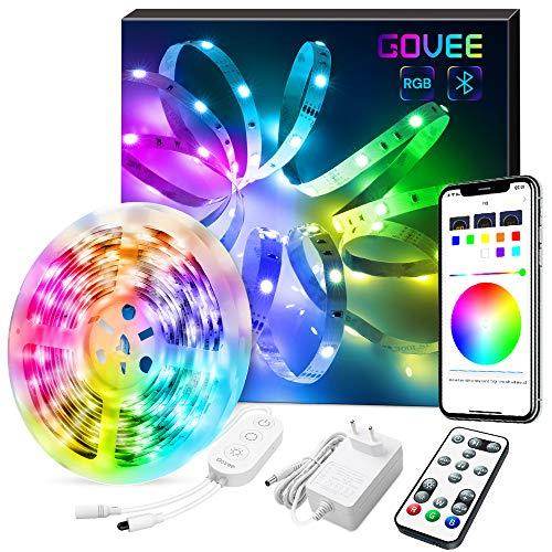 Govee 5m RGB LED Streifen Lichtband, LED Band mit Musik, Bluetooth Verbindung LED Strip mit App, Fernbedienung und Steuerbox, Dimmbare, 7 Szenenmodi für Zuhause, Küche, Party -