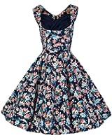 Lindy Bop 'Ophelia' Vintage 1950's Dark Blue Floral Spring Garden Party Picnic Dress