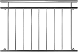 Edelstahl Französischer Balkon Geländer Balkongeländer 90 x 156 cm V2Aox