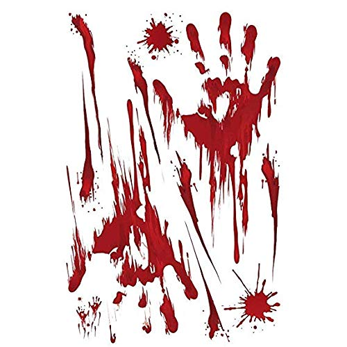 Scary Bloody Floor klammert Decals für Halloween Vampir Zombie Party Home Wand Dekor Halloween Dekoration Blutige Hand druckt Footprint mit Blut Splats Fenster ()