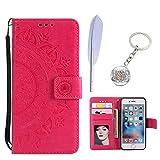 KM-Panda Housse Coque Compatible pour Apple iPhone 5 5S Se Mandala Cuir PU Wallet Cover TPU Silicone Étui Portefeuille Flip Case - Rouge