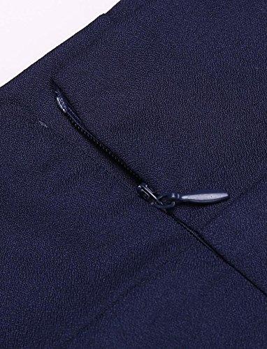 Chigant Damen Casual Knielang Business Rock Stretch Bodycon Bleistiftrock mit Schlitz Elegant Pencilrock mit Reißverschluss Dunkelblau