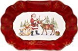 Villeroy & Boch Toy's Fantasy Ciotola Ovale Grande Babbo Natale, Porcellana, Bianco/Rosso, 29x19x0.1 cm