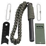 CampBuddy Magnesium Feuerstahl XL mit Paracord Armband, Mischmetall 20.000 Zündungen, Inkl. Signalpfeife