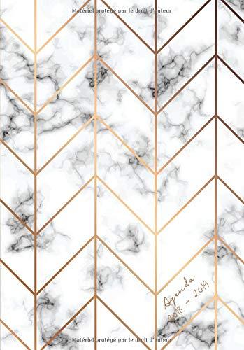 Agenda 2018-2019: Agenda Semainer de Juillet 2018 à Août 2019, A5, motif motif abstrait marbre (papeterie moderne et épuré dans l'air du temps) par Papeterie Collectif