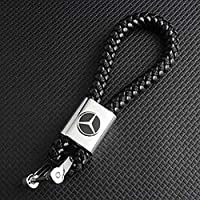 Weave Leather Metal Key chain With Mercedes Benz Logo Emblem