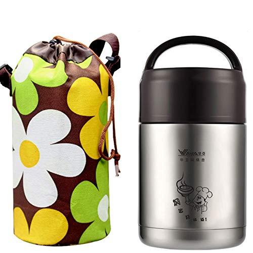 Saismx Brennschale 304 Edelstahl-Vakuum-Doppel Topf Topf Kühler Tank Student Lebensmitteldosen Bedingt Dichte Isolierung Taschen Lunchbox Lunchbox + (Color : Brown, Größe : 1000ML) -