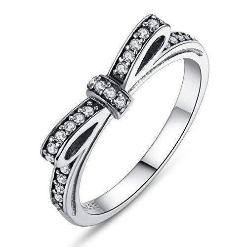 Presentski 925 Sterling Silver Ring Bowknot per le donne del regalo di compleanno ragazze