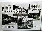 Hotel Praha. Kyselka in Tschechien (dt. Gießhübl Sauerbrunn). Seltene Mehrbild AK s/w. Gebäudeansicht, Teilansicht des Ortes, Kirche, Flußpanorama