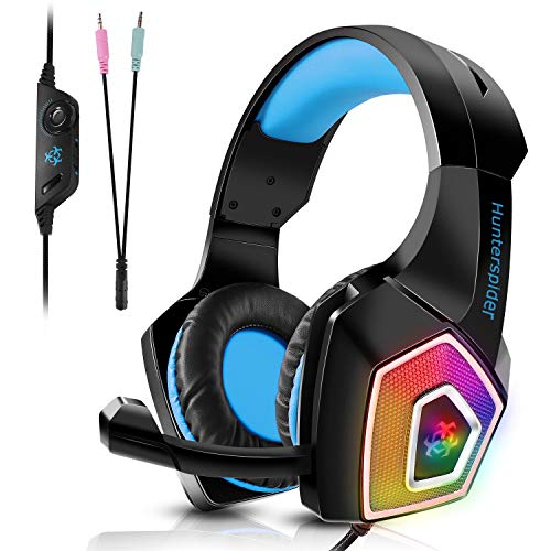 Tenswall Headset PS4 Gaming Headset für PC Xbox One, LED Licht Crystal Clarity Sound Professionel Kopfhörer mit Mikrofon für Laptop Mac Handy Tablet Blau