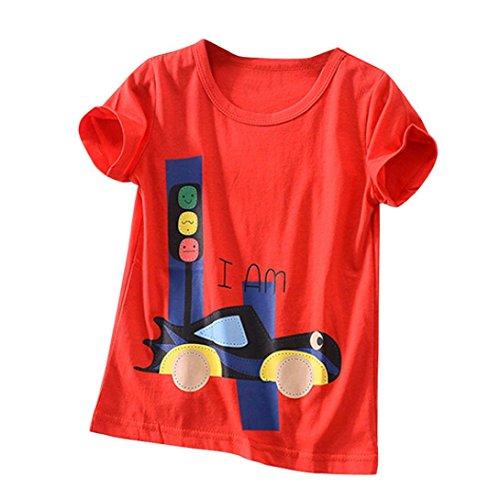Chshe Kinder T-Shirt, 2-6 Jahre Säugling Jungen Mädchen I Am Karikatur Ampel Auto Kurzarm Top Kostüm (Rot, 6 Jahre)