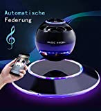 Music Angel Lautsprecher der Magnetschwebe mit Bluetooth 4.0 Multifarben LED kabellos 360 Grad mit den Mikrofon (schwarz) ...
