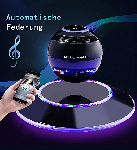 MUSIC ANGEL 360 Grad Lautsprecher mit Magnetschwebe mit Bluetooth 4.0 Multifarben LED kabellos, schwarz thumbnail