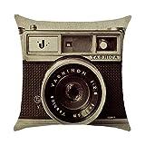 Almohada Funda De Cojín Retro Vintage Cámara algodón sofá cojín decoración Cojín Auto Home Decor 45x 45cm (sin cabeza Núcleo) 1