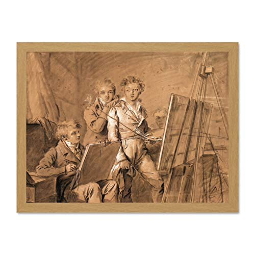Beige Artist Studio (Doppelganger33 LTD Painting Boilly Three Young Artists Studio Large Framed Art Print Poster Wall Decor 18x24 inch Supplied Ready to Hang Malerei Jung Künstler Wand Deko)