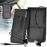 (negro) Huawei P9 Funda para cinturón de cuero de imitación Vertical Pouch Funda y auriculares de aluminio ONX3®