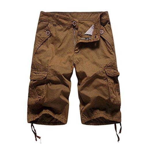 MOIKA Herren Cargoshorts, Sommer Herren Jogginghose Basic Cargoshorts im Klassischen Stil Bermudas Sportshorts Sweatshorts Alltägliche Shorts Casual Shorts(L,Kaffee)
