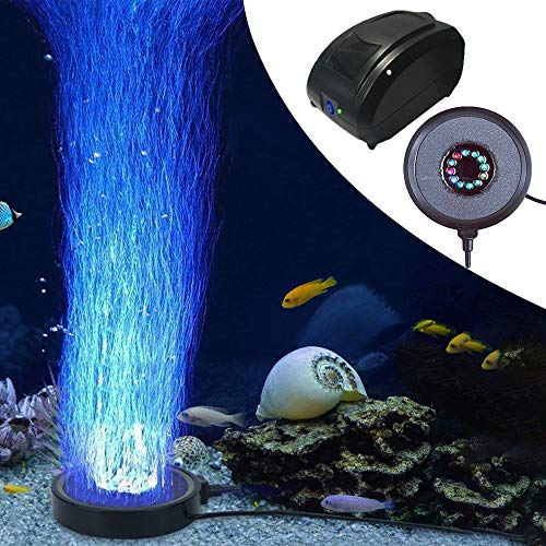 Kuty LED Aquarium Beleuchtung, Pumpe Aquarium, LED Aquarium Licht, Aquarium Beleuchtung Led, Sprudler Air Stone, 12 Aquarium Luftpumpe mit Led, Unterwasserbeleuchtung für Fisch Tank Aquarien EU Plug