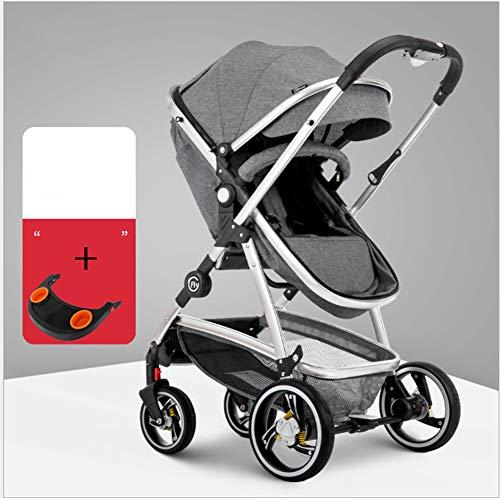 QZX Baby-Kinderwagen 2 in 1 Kinderwagen-Reisesystem Rückwärts oder vorwärts gerichtet Faltbarer Kinderwagen-Kinderwagen,Gray