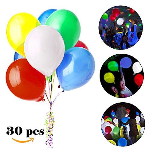 s 30 Stück LED Leuchtende Luftballons Blinkendes Licht - Bunte Ballons für Hochzeits Geburtstags Party Halloween Weihnachten (Helium-ballone Mit Led-lichtern)