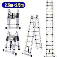 MLJ 2.5M+2.5M Escaleras Plegable y Telescópica 5M de Aluminio Plegable Extensible de Multifunción (Almacén de Alemania)