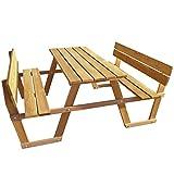 vidaXL Picknicktisch mit Rückenlehne Kiefernholz Gartentisch Bierbank Holzbank