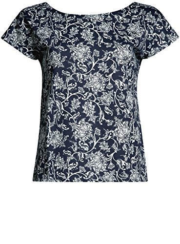 oodji Ultra Donna T-Shirt Larga in Cotone Blu (7930F)