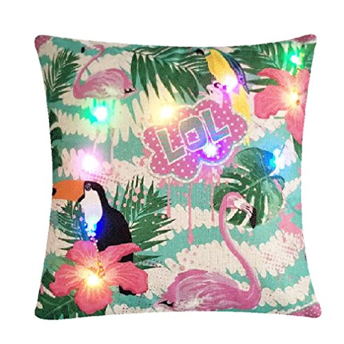 Nunubee Kissenbezug LED Bunte Lichter Flamingo-Muster Party Urlaub Dekoration Leinenmaterial Lendenkissen Kopfkissen Dekokissen Canape Deko, Flamingos 3 45 * 45CM - Kissenbezug Licht