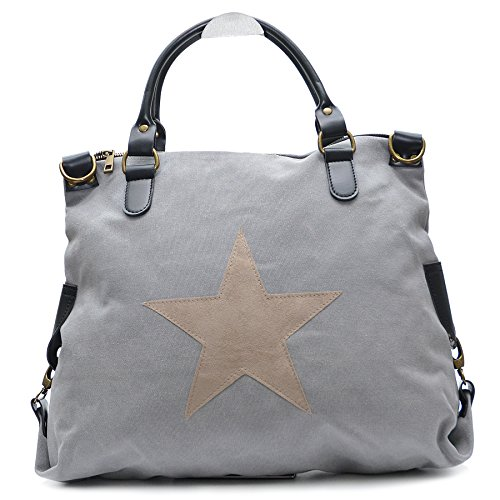 Vain Secrets Sternen Shopper Damen Handtasche mit Schulterriemen (Hell Grau) -