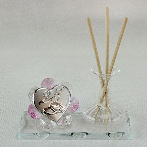 Dlm26418-rosa profumatore in vetro soffiato e cristallo 25 anniversario nozze matrimonio_rosa bomboniera