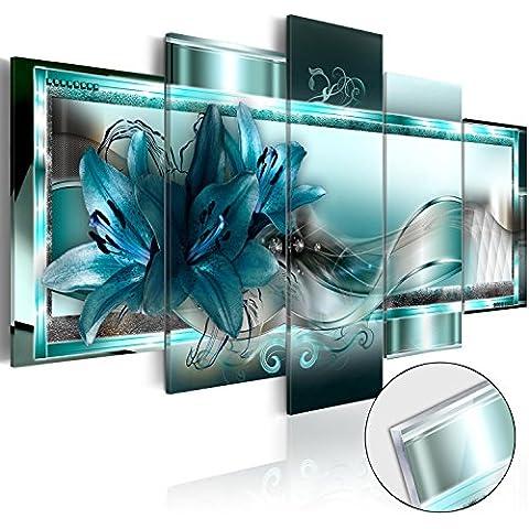 Novedad! Moderno - Cuadro de cristal acrílico 100x50 cm – 5 Partes - 2 tamaños opcionales - Cuadro de acrílico – TOP – Cuadro - Impresion en calidad fotografica - Flores Abstración b-C-0153-k-n 100x50 cm
