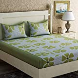 Panipat Textile Hub 100% Cotton Double BedSheet for Double Bed with 2 Pillow Covers Set, Queen Size Bedsheet Series, 140 TC, 3D Printed Pattern