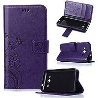 Beiuns Funda de PU piel para Samsung Galaxy Core 2 / Core 2 Duos (4,5 pulgadas) Carcasa - R150 púrpura elegante