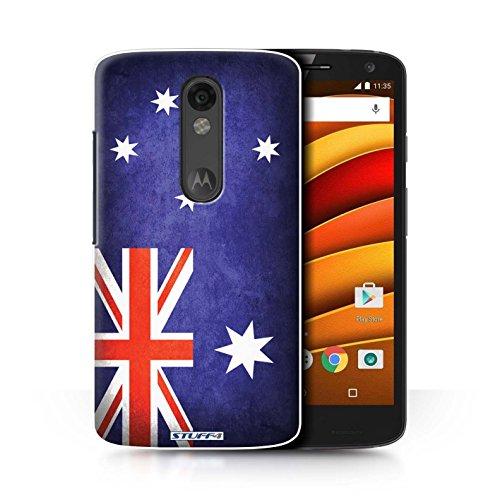 Custodia/Cover/Caso/Cassa Rigide/Prottetiva STUFF4 stampata con il disegno Bandiere per Motorola Moto X Force - (Australiano Moto)