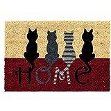 D'CASA Felpudo Moderno Gatos diseño Home, Fibra de Coco, 40 x 60 cm