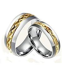 KNSAM - Compromiso de banda Vorsteckring de acero inoxidable para mujer y hombre