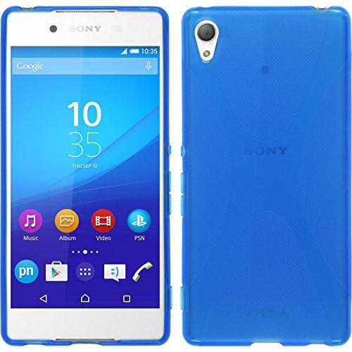 phonenatic custodia compatibile con sony xperia z3+ / plus cover blu x-style xperia z3+ / plus in silicone + pellicola protettiva