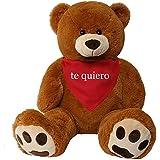 TE-Trend XXL Oso de Peluche gigante Peluche Animal De Peluche peluche gigante Osito gigante oso Rico marrón 135 cm Paño romántico Textos - te quiero