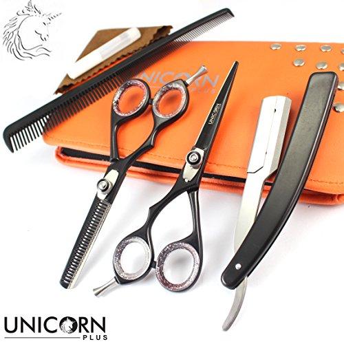 * Unicorn Verkauf *! Neue Handschuh-Set - Profi-Haarschneider 5,5 '', Deep Black Professionelle Friseurschere - Friseur Stylische Schere zum Haarschneiden - Thinnig Hair Scissors (Free Shaver + Online-Tracking (Haare Zum Verkauf)