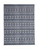Teppich Wohnzimmer Carpet Geometrie Design Sunny 210 RUG Streifen Rauten Muster Polyester 200x290 cm Blau / Teppiche günstig online kaufen