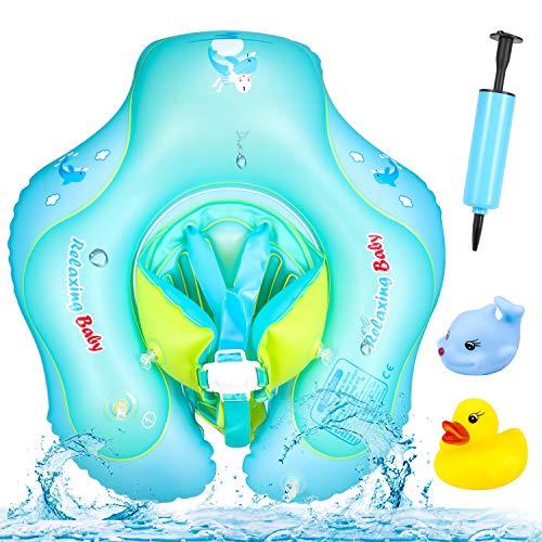 Yosemy Baby Schwimmring, Baby Schwimmen Verstellbare Aufblasbare Schwimmer, Baby Pool Schwimmen Ring Schwimmhilfe Kinder Schwimmring mit Pumpe Schwimmtrainer für Kinder Von 6-30 Monaten
