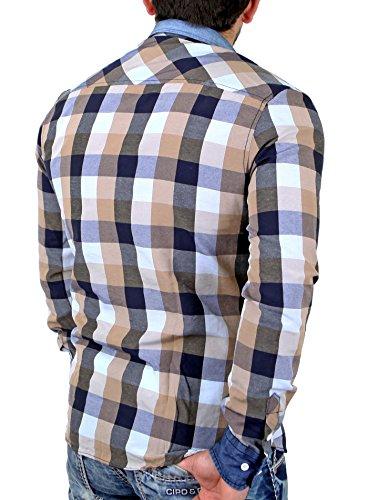 Reslad Herren Hemd Freizeithemd Karo Vintage Look RS-7204 Braun