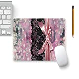 Colorpur Vintage Shabby Chic Black Lace Pink Ribbon Designer Mouse Pad Black Base - 8 in x 7 in | Artist: UtART