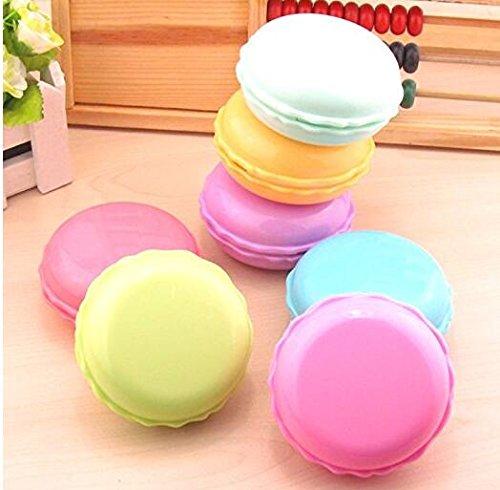 HeyBro Kontaktlinsenbehälter für süße Makronen, mit Spiegelpinzette, Stiel und Lösungsflasche, 2 ()