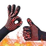 ORICH hitzebeständig Silikon Ofenhandschuhe, Extra Lang Topflappen Handschuhe, Rutschfeste Baumwolle Futter Küche Handschuh für Backen, Grill, 1Paar