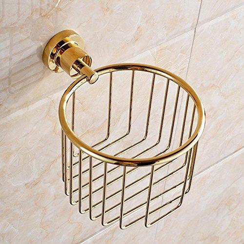 XAH@ Triangolo di rame rotondo cestino cesto oro antico bagno porta carta igienica