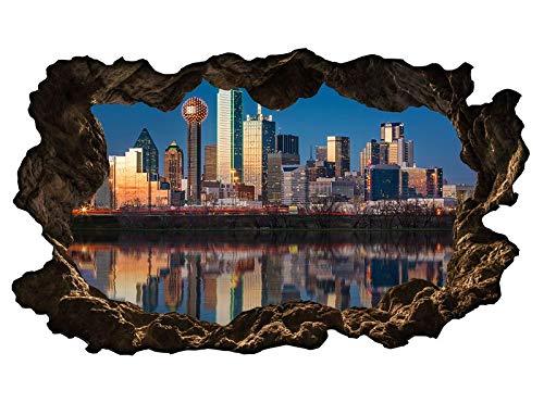 3D Wandtattoo Dallas Skyline USA Stadt Trinity River Wand Aufkleber Wanddurchbruch sticker selbstklebend Wandbild Wandsticker Wohnzimmer 11P237, Wandbild Größe F:ca. 97cmx57cm