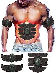 Meiqils Elettrostimolatore Muscolare Trainer ABS Addominale Fitness Attrezzature Regalo di Natale per Uomini e Donne (Red)